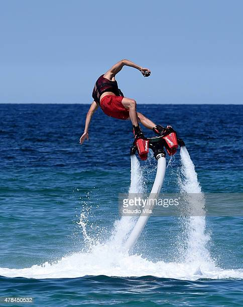 Stephan El Shaarawy performs with a flyboard on June 25 2015 in Porto Cervo Italy