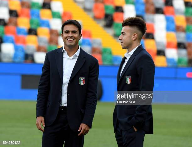 Stephan El Shaarawy R0 and Eder of Italy chat during Italy walk around at Stadio Friuli on June 10 2017 in Udine Italy