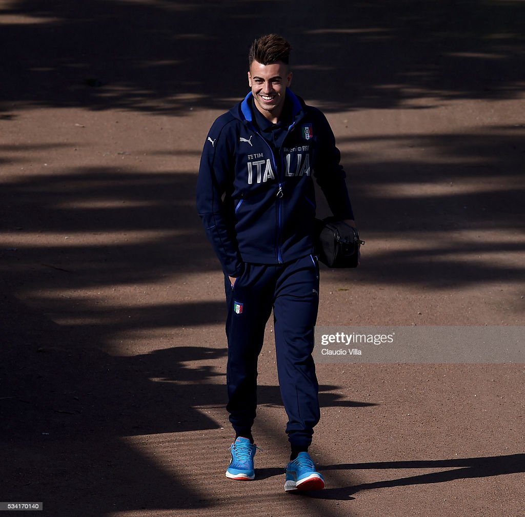 <a gi-track='captionPersonalityLinkClicked' href=/galleries/search?phrase=Stephan+El+Shaarawy&family=editorial&specificpeople=7181554 ng-click='$event.stopPropagation()'>Stephan El Shaarawy</a> smiles prior to the Italy training session at the club's training ground at Coverciano on May 25, 2016 in Florence, Italy.