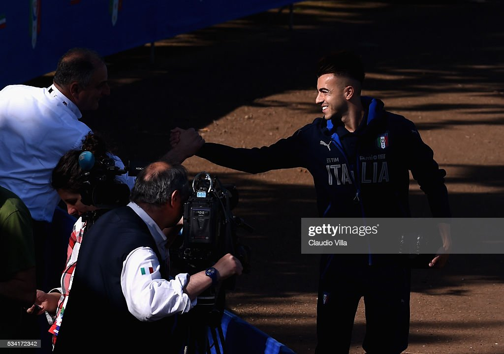 Stephan El Shaarawy smiles prior to the Italy training session at the club's training ground at Coverciano on May 25, 2016 in Florence, Italy.
