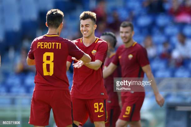 Stephan El Shaarawy with Diego Perotti of Roma celebrating during the Italian Serie A football match between AS Roma and Udinese on September 23 2017...