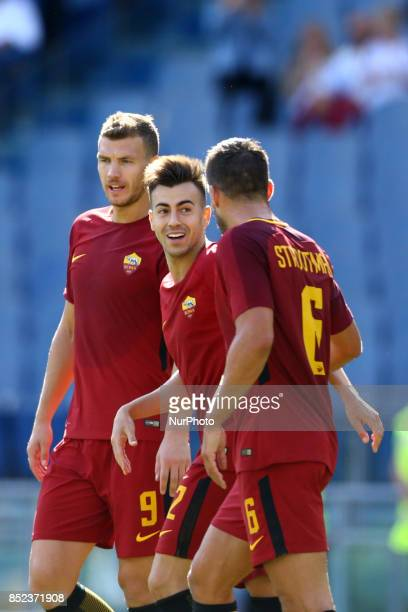 Stephan El Shaarawy with Edin Dzeko and Kevin Strootman of Roma celebration during the Italian Serie A football match between AS Roma and Udinese on...