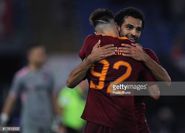 Stephan El Shaarawy with his teammate Mohamed Salah of AS Roma celebrates after scoring the team's fourth goal during the Serie A match between AS...