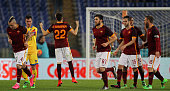 Stephan El Shaarawy with his teammates of AS Roma celebrates after scoring the team's second goal during the Serie A match between AS Roma and...