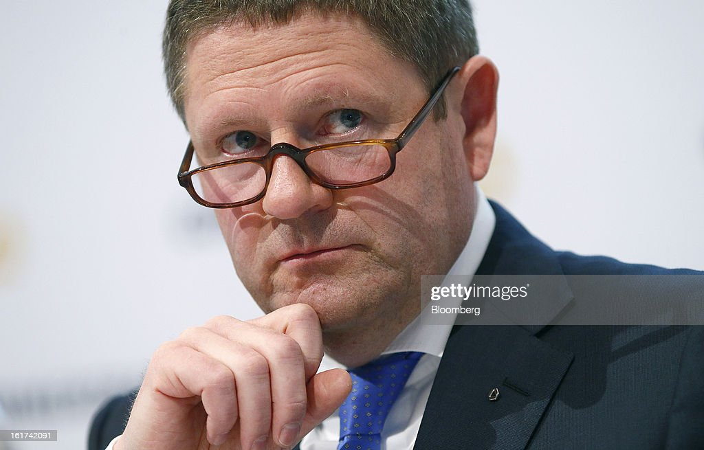 Stephan Engels, chief financial officer of Commerzbank AG, pauses during a news conference in Frankfurt, Germany, on Friday, Feb.15, 2013. Commerzbank AG Chief Executive Officer Martin Blessing gave up his bonus for last year and cut the payouts by an average 17 percent across the firm, warning of higher costs and more pressure on revenue. Photographer: Ralph Orlowski/Bloomberg via Getty Images