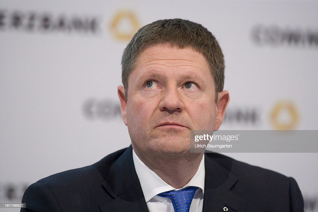 Stephan Engels, financial chairman of the Commerzbank AG, during the company's annual press conference to present the 2012 results on February 15, 2013 in Frankfurt am Main, Germany. Chief Executive Martin Blessing announced at the press conference that he will waive his annual bonus as a result of the bank's unsatisfactory annual profit.