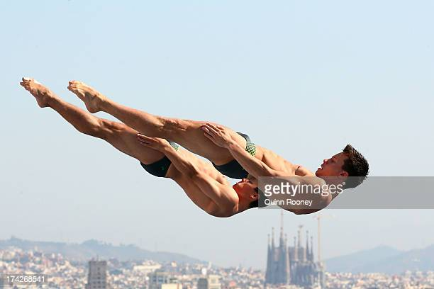 Stephan Feck and Patrick Hausding of Germany compete in the Men's 3m Synchro Springboard Diving preliminary round on day four of the 15th FINA World...
