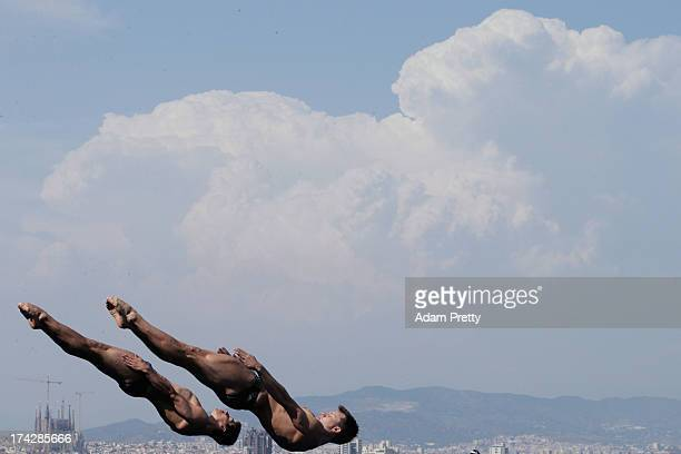 Stephan Feck and Patrick Hausding of Germany compete in the Men's 3m Synchro Springboard Diving final on day four of the 15th FINA World...