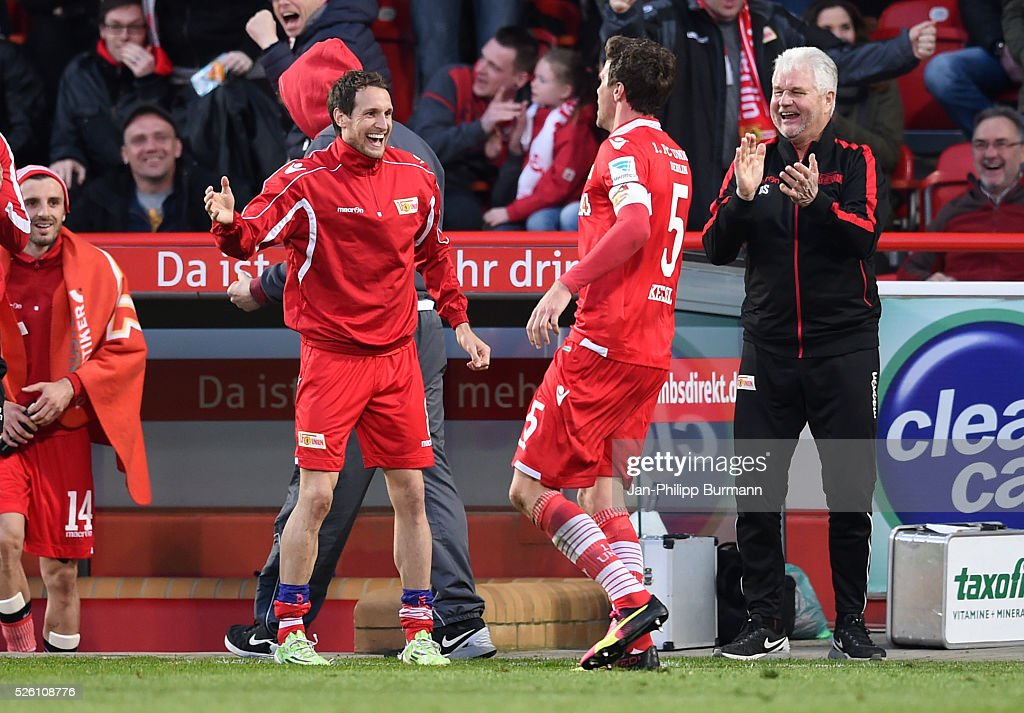 Stephan Fuerstner and Benjamin Kessel of 1 FC Union Berlin celebrate after scoring the 1:0 during the game between Union Berlin and dem VfL Bochum on april 29, 2016 in Berlin, Germany.