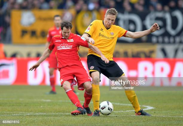 Stephan Fuerstner of 1 FC Union Berlin and Marco Hartmann of SG Dynamo Dresden during the game between SG Dynamo Dresden and dem 1 FC Union Berlin on...