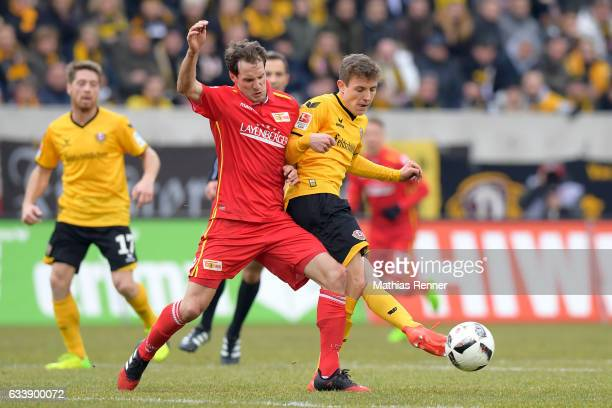 Stephan Fuerstner of 1 FC Union Berlin and Niklas Hauptmann of SG Dynamo Dresden during the game between SG Dynamo Dresden and dem 1 FC Union Berlin...
