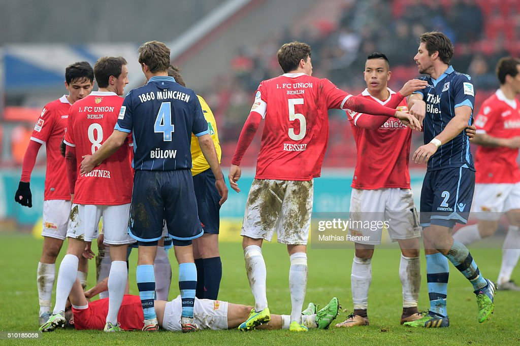 Stephan Fuerstner of 1 FC Union Berlin, <a gi-track='captionPersonalityLinkClicked' href=/galleries/search?phrase=Kai+Buelow&family=editorial&specificpeople=750930 ng-click='$event.stopPropagation()'>Kai Buelow</a> of TSV 1860 Muenchen, Benjamin Kessel of 1 FC Union Berlin and Jan Mauersberg von TSV 1860 München during the game between Union Berlin and TSV 1860 Muenchen on february 14, 2016 in Berlin, Germany.