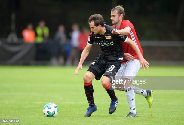 Stephan Fuerstner of 1 FC Union Berlin und Alex Bottke of Friedrichshagener SV während dem Spiel zwischen dem Friedrichshagener SV und dem 1 FC...