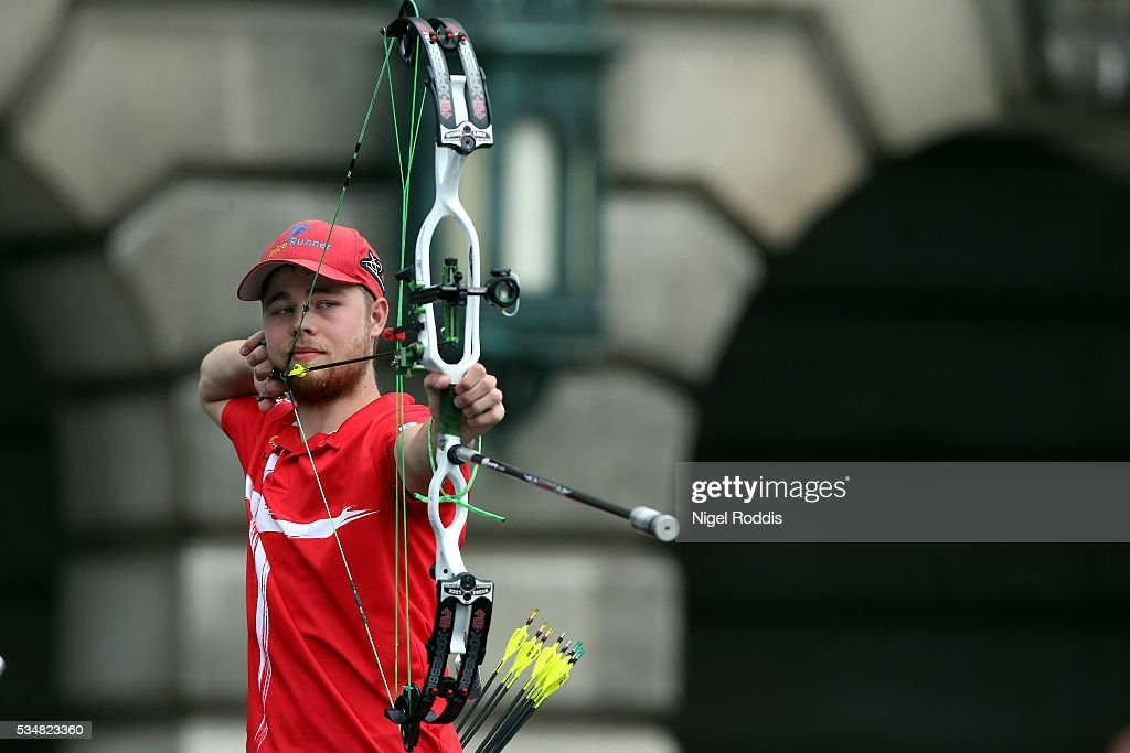 Stephan Hansen of Denmark shoots during the Mixed Compound Team Bronze medal team match at the European Archery Championship on May 28, 2016 in Nottingham, England.