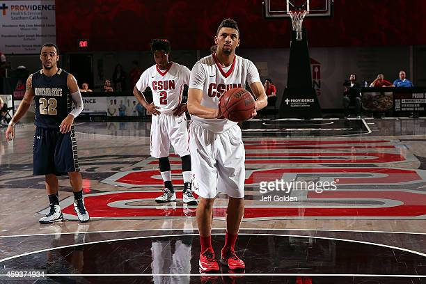 Stephan Hicks of the CSUN Matadors shoots and makes the second of two free throws against the Montana State Bobcats in the second half of the home...