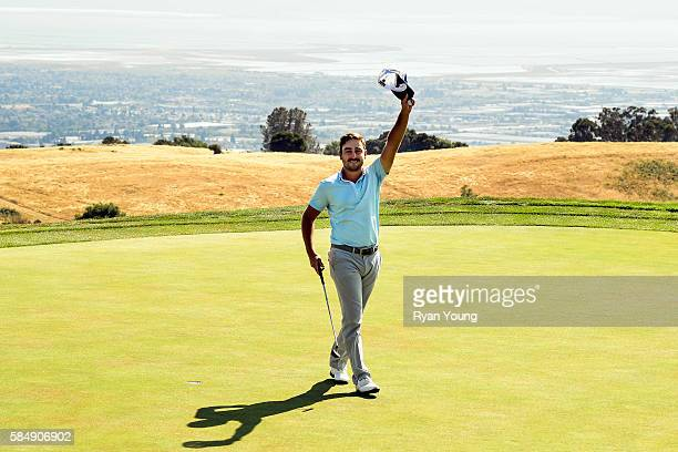 Stephan Jaeger acknowledges the crowd after sinking the final putt during the final round of the Webcom Tour Ellie Mae Classic at TPC Stonebrae on...