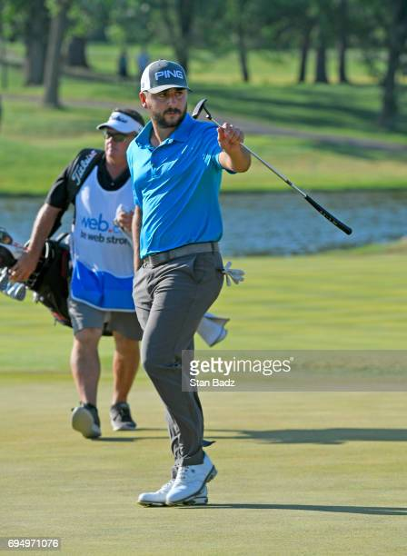 Stephan Jaeger acknowledges the gallery walking up the 18th fairway during the final round of the Webcom Tour RustOleum Championship at Ivanhoe Club...