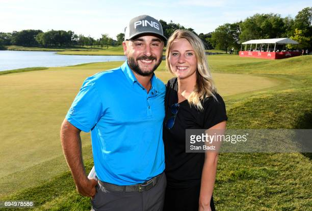 Stephan Jaeger and girlfriend Shelby Garren pose on the 18th green during the final round of the Webcom Tour RustOleum Championship at Ivanhoe Club...