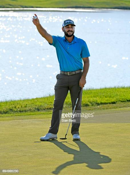 Stephan Jaeger celebrates his win on the 18th green during the final round of the Webcom Tour RustOleum Championship at Ivanhoe Club on June 11 2017...