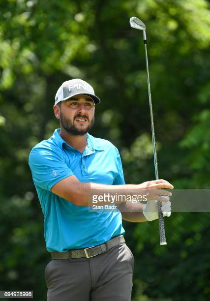 Stephan Jaeger hits a tee shot on the second hole during the final round of the Webcom Tour RustOleum Championship at Ivanhoe Club on June 11 2017 in...