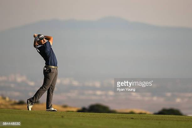 Stephan Jaeger hits his second shot on the ninth hole during the first round of the Webcom Tour Ellie Mae Classic at TPC Stonebrae on July 28 2016 in...