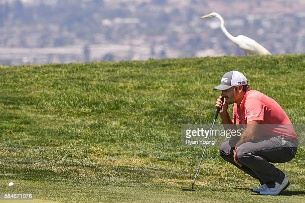 Stephan Jaeger lines up a putt as a heron walks in the background during the second round of the Webcom Tour Ellie Mae Classic at TPC Stonebrae on...