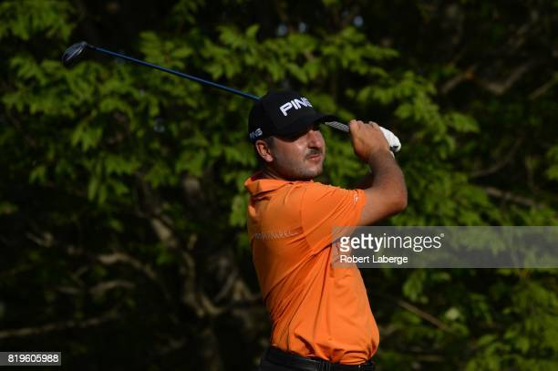 Stephan Jaeger makes a tee shot on the second hole during round one of the Webcom Tour Pinnacle Bank Championship on July 20 2017 at the Indian Creek...