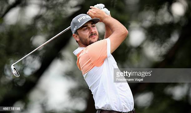 Stephan Jaeger of Germany hits a shot during the second round of the 2014 Brasil Champions Presented by HSBC at the Sao Paulo Golf Club on March 13...