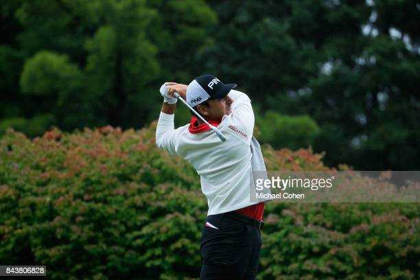 Stephan Jaeger of Germany hits a shot during the third round of the Nationwide Children's Hospital Championship held at The Ohio State University...