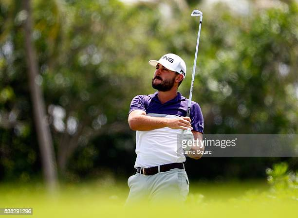 Stephan Jaeger of Germany hits his first shot on the 2nd hole during the final round of the Corales Puntacana Resort And Club Championship on June 5...