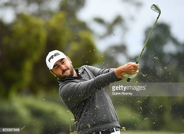 Stephan Jaeger of Germany plays an approach shot during day one of the World Cup of Golf at Kingston Heath Golf Club on November 24 2016 in Melbourne...