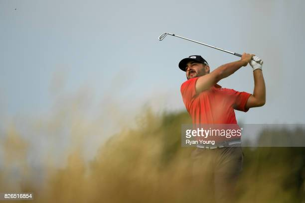 Stephan Jaeger of Germany plays his shot from the 12th tee during the second round of the Webcom Tour Ellie Mae Classic at TPC Stonebrae on August 4...