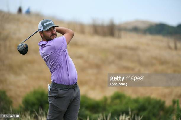 Stephan Jaeger of Germany plays his shot from the 17th tee during the first round of the Webcom Tour Ellie Mae Classic at TPC Stonebrae on August 3...