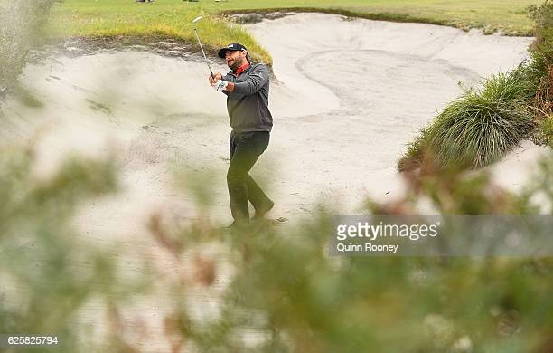 Stephan Jaeger of Germany plays out of the bunker during day three of the World Cup of Golf at Kingston Heath Golf Club on November 26 2016 in...