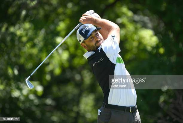 Stephan Jaeger plays a tee shot on the second hole during the third round of the Webcom Tour RustOleum Championship at Ivanhoe Club on June 10 2017...