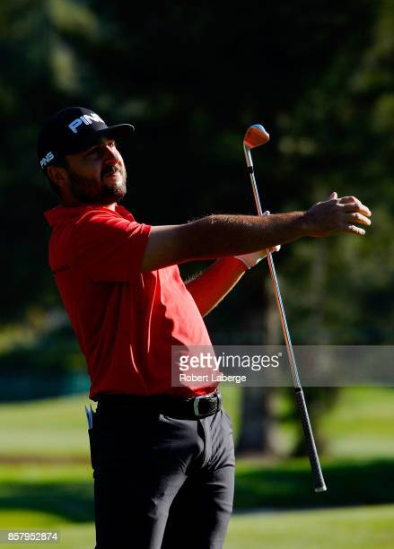 Stephan Jaeger plays his shot on the 13th hole during the first round of the Safeway Open at the North Course of the Silverado Resort and Spa on...