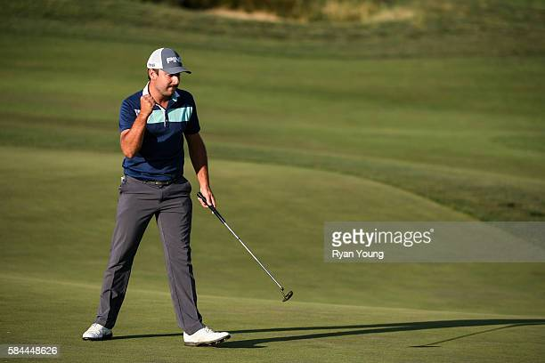 Stephan Jaeger pumps his fist as he watches his birdie putt on the ninth hole go in to give Jaeger a round of 58 during the first round of the Webcom...