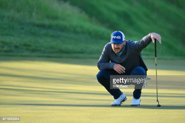 Stephan Jaeger studies his putt on the seventh hole during the third round of the Webcom Tour United Leasing Finance Championship at Victoria...