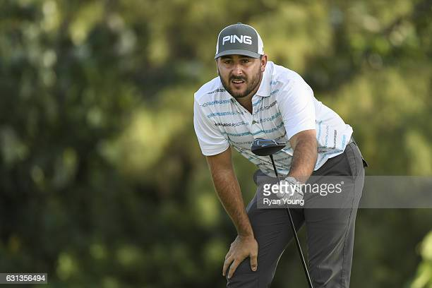 Stephan Jaeger tees off on the ninth hole during the second round of The Bahamas Great Exuma Classic at Sandals Emerald Bay Course on January 9 2017...