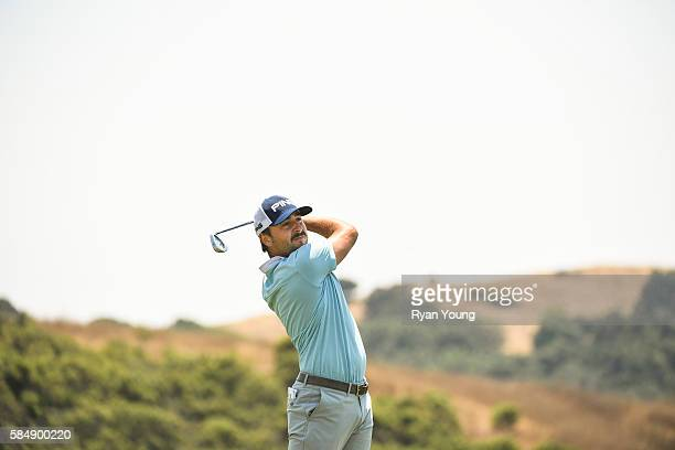 Stephan Jaeger tees off on the sixth hole during the final round of the Webcom Tour Ellie Mae Classic at TPC Stonebrae on July 31 2016 in Hayward...