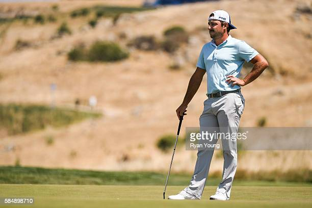Stephan Jaeger waits to putt on the first hole during the final round of the Webcom Tour Ellie Mae Classic at TPC Stonebrae on July 31 2016 in...