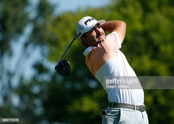 Stephan Jaeger watches his drive on the sixth hole during the first round of the Webcom Tour Nationwide Children's Hospital Championship at The Ohio...