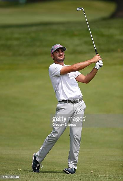 Stephan Jaeger watches his second shot on the 18th hole during the first round of the Webcom Tour RustOleum Championship at the Lakewood Country Club...