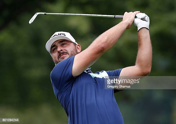 Stephan Jaeger watches his tee shot on the third hole during the second round of the Webcom Tour 2016 DAP Championship at the Canterbury Golf Club on...