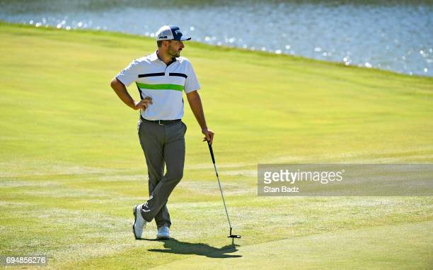 Stephan Jaeger watches play on the eighth hole during the third round of the Webcom Tour RustOleum Championship at Ivanhoe Club on June 10 2017 in...