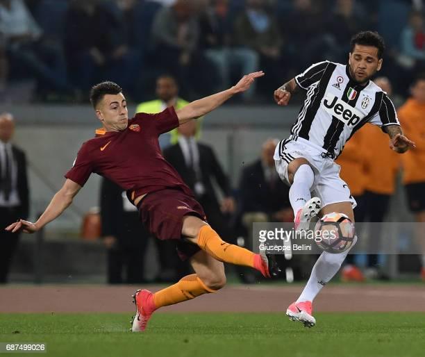 Stephan Kareem El Shaarawy of AS Roma and Da Silva Dani Alves of Juventus FC in action during the Serie A match between AS Roma and Juventus FC at...