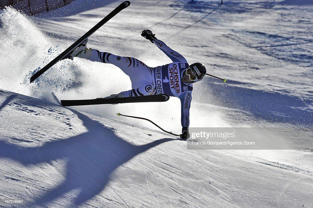 Stephan Keppler of Germany falls during the Audi FIS Alpine Ski World Cup Men's Super G on December 1, 2012 in Beaver Creek, Colorado.