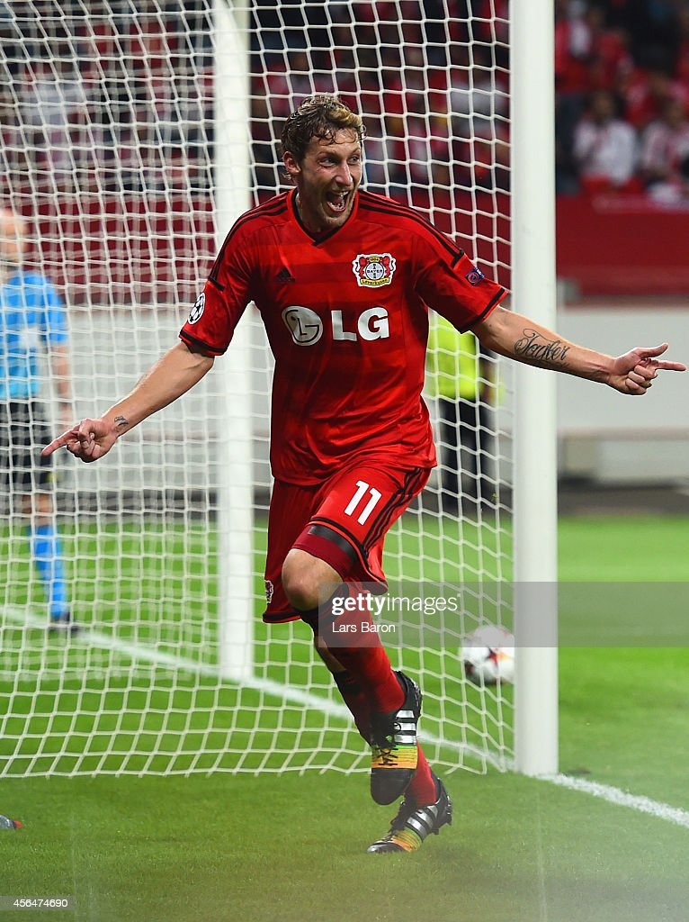 Stephan Kiessling of Bayer Leverkusen celebrates scoring the opening goal during the UEFA Champions League Group C match between Bayer 04 Leverkusen and SL Benfica on October 1, 2014 in Leverkusen, Germany.