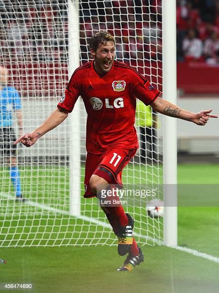 Stephan Kiessling of Bayer Leverkusen celebrates scoring the opening goal during the UEFA Champions League Group C match between Bayer 04 Leverkusen...
