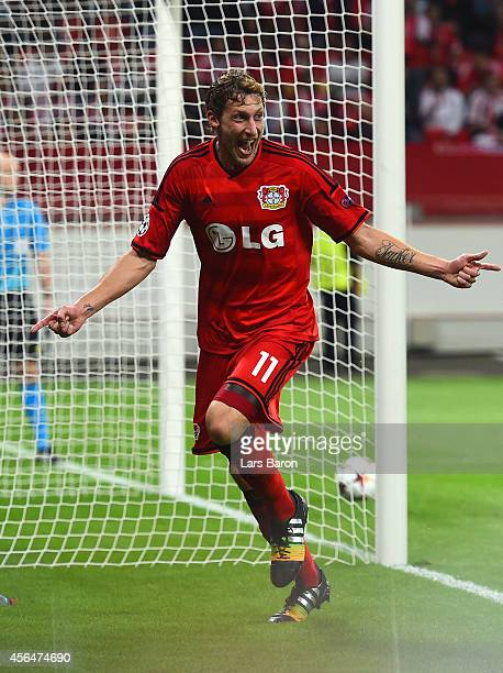 Stephan Kiessling of Bayer Leverkusen celebrates scoring the opening goal during the UEFA Champions League Group C match between Bayer 04 Leverkusen...